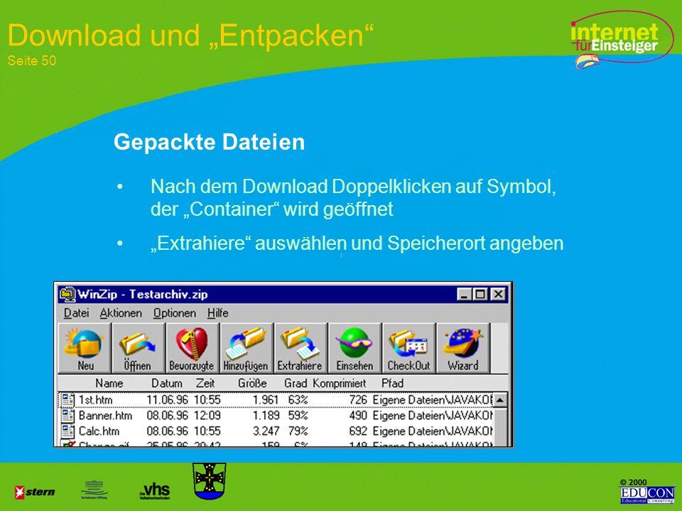 """Download und """"Entpacken Seite 50"""