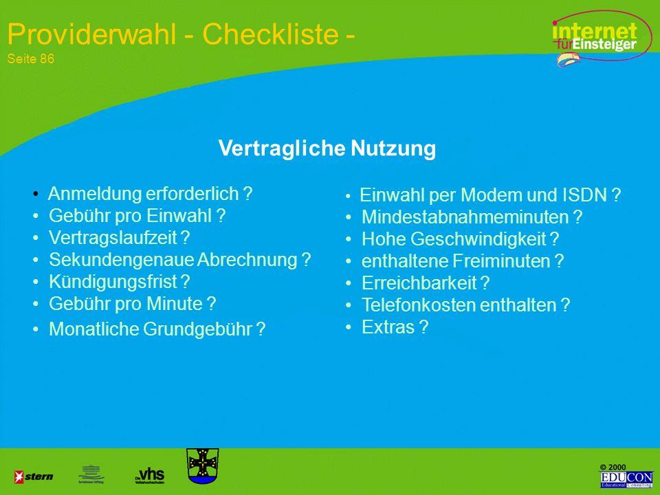 Providerwahl - Checkliste - Seite 86