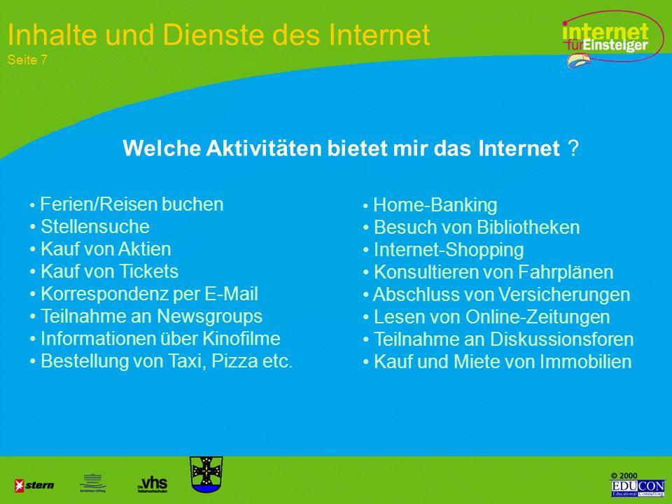 Inhalte und Dienste des Internet Seite 7