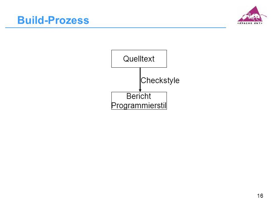 Build-Prozess Quelltext Checkstyle Bericht Programmierstil