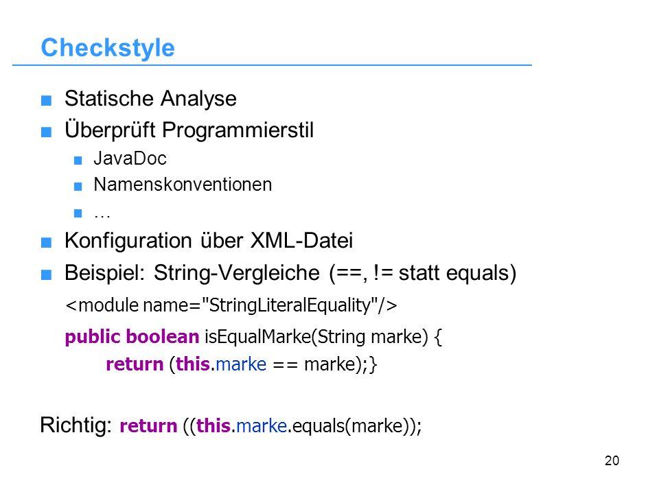 Checkstyle Statische Analyse Überprüft Programmierstil
