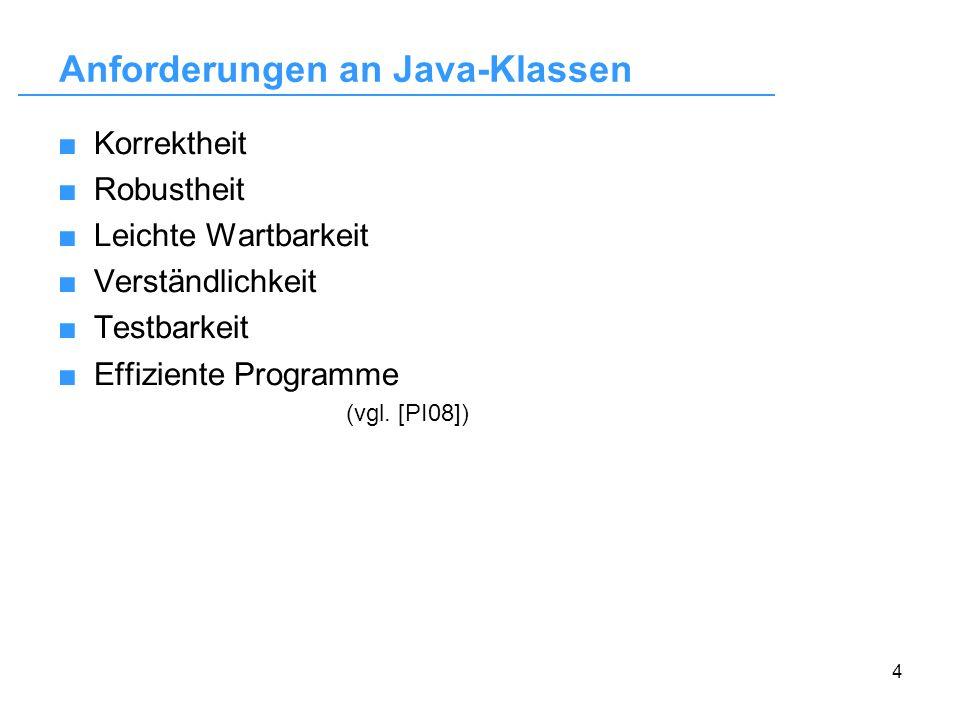 Anforderungen an Java-Klassen