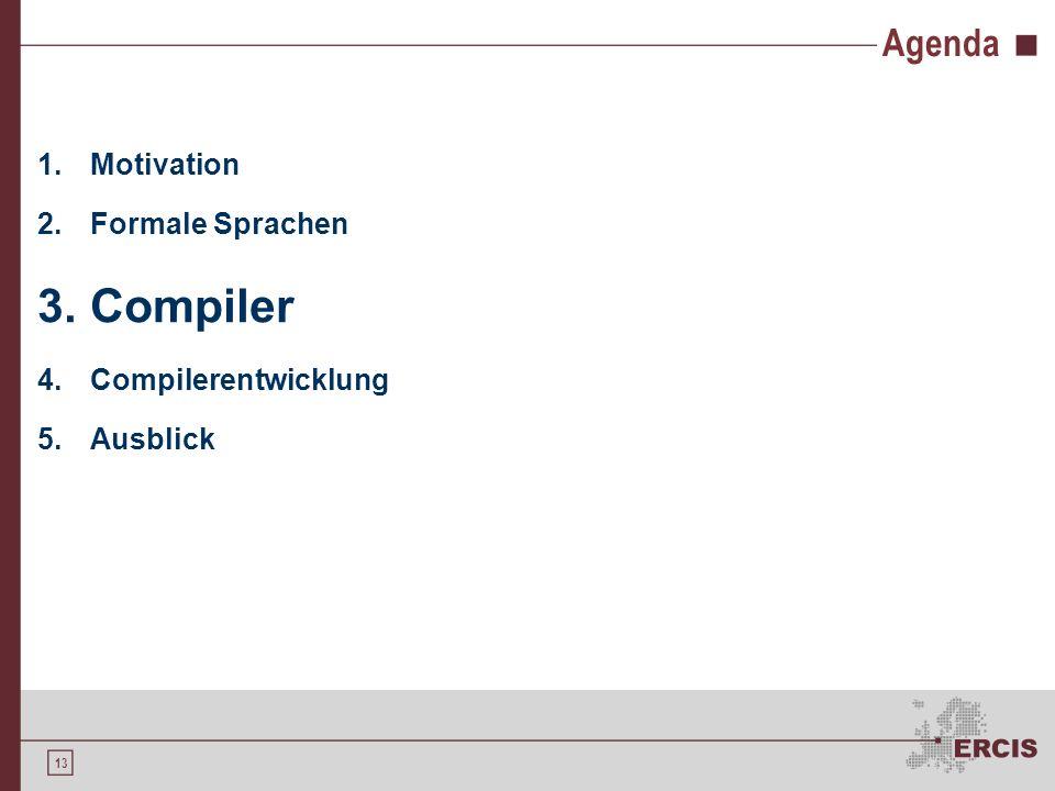 Compiler Agenda Motivation Formale Sprachen Compilerentwicklung
