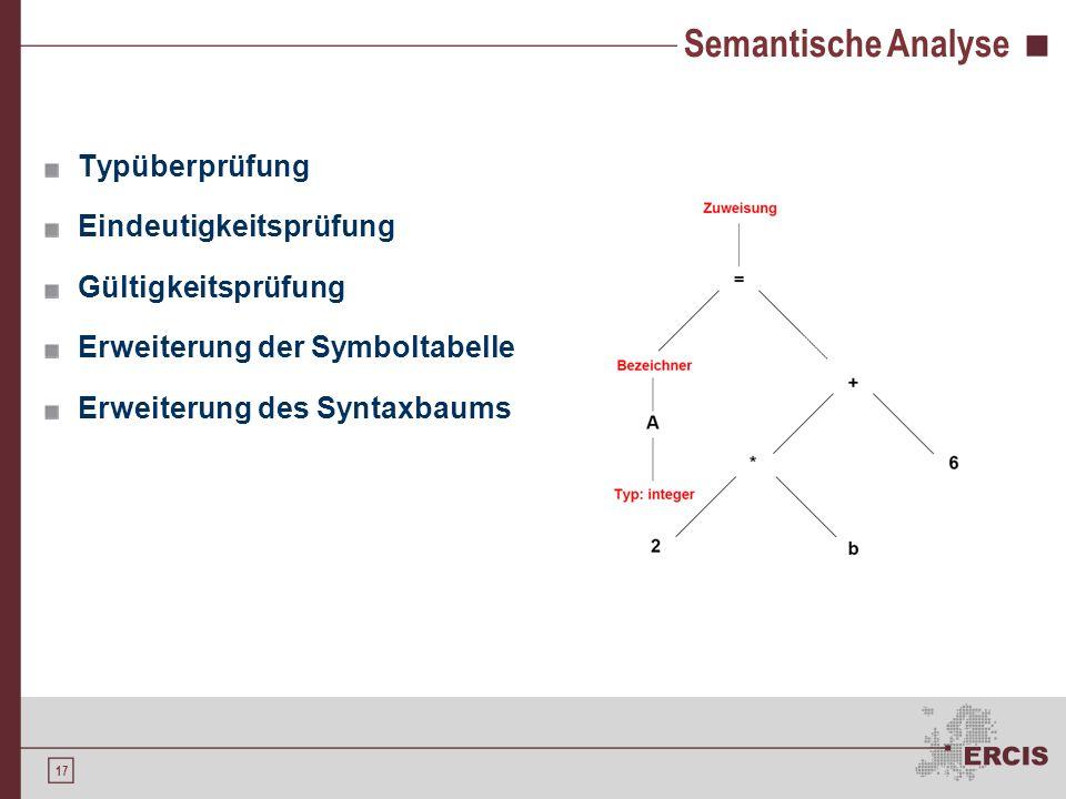 Semantische Analyse Typüberprüfung Eindeutigkeitsprüfung