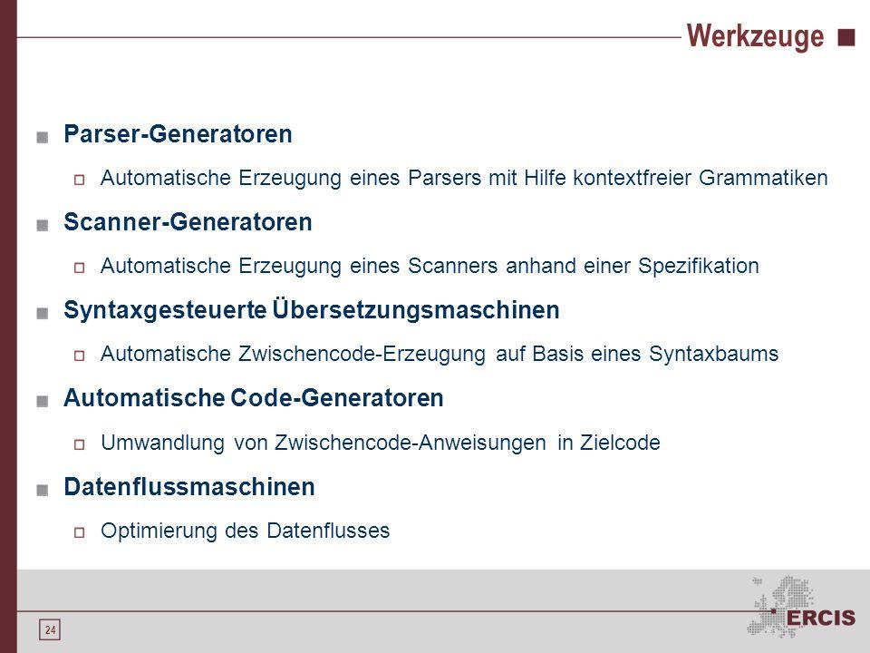 Werkzeuge Parser-Generatoren Scanner-Generatoren