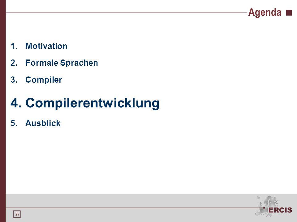 Compilerentwicklung Agenda Motivation Formale Sprachen Compiler