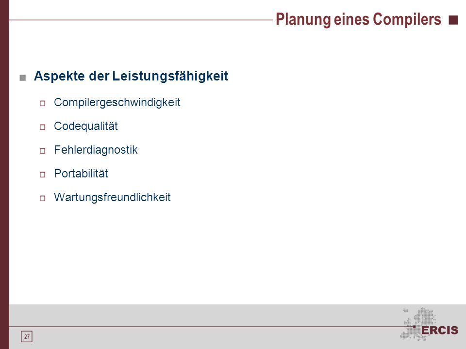Planung eines Compilers