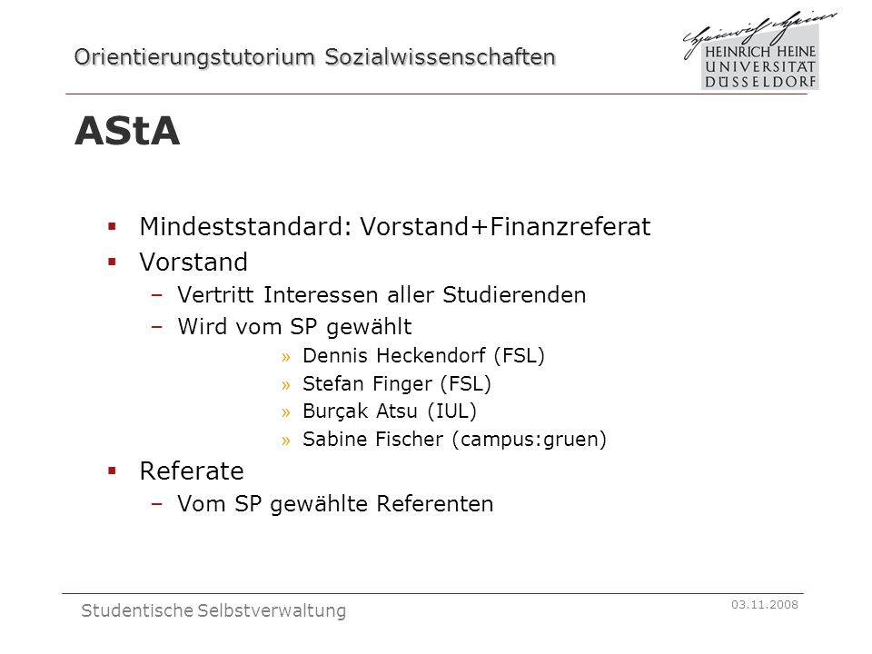 AStA Mindeststandard: Vorstand+Finanzreferat Vorstand Referate