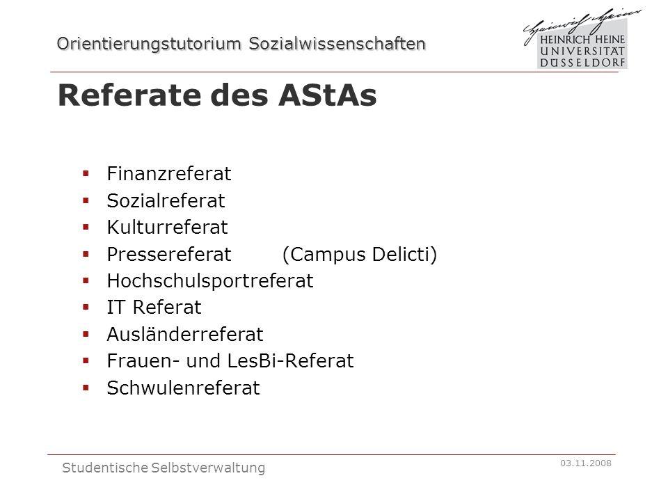 Referate des AStAs Finanzreferat Sozialreferat Kulturreferat