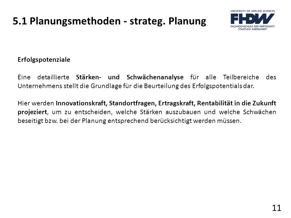 5.1 Planungsmethoden - strateg. Planung