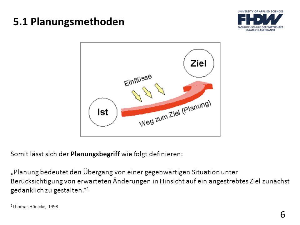 5.1 Planungsmethoden Somit lässt sich der Planungsbegriff wie folgt definieren: