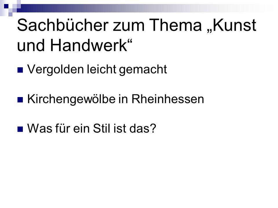 """Sachbücher zum Thema """"Kunst und Handwerk"""