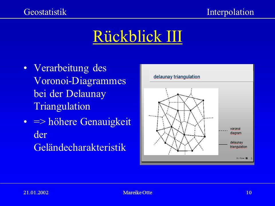 Geostatistik Interpolation. Rückblick III. Verarbeitung des Voronoi-Diagrammes bei der Delaunay Triangulation.