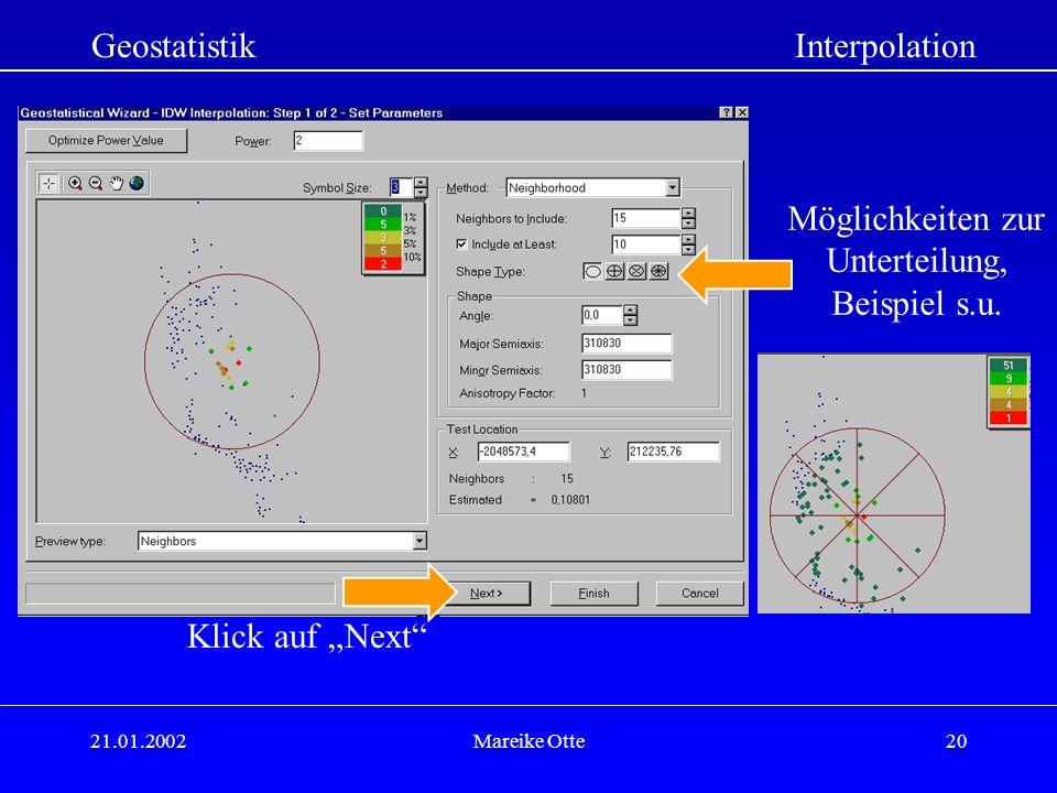 Geostatistik Interpolation Möglichkeiten zur Unterteilung,