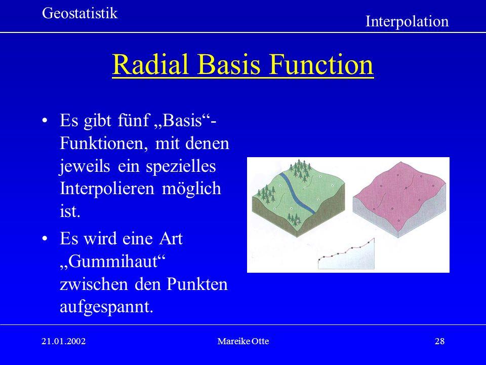 """Geostatistik Interpolation. Radial Basis Function. Es gibt fünf """"Basis -Funktionen, mit denen jeweils ein spezielles Interpolieren möglich ist."""