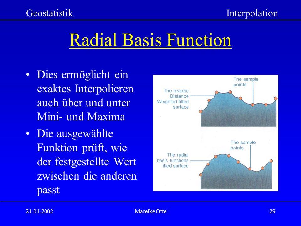 Geostatistik Interpolation. Radial Basis Function. Dies ermöglicht ein exaktes Interpolieren auch über und unter Mini- und Maxima.
