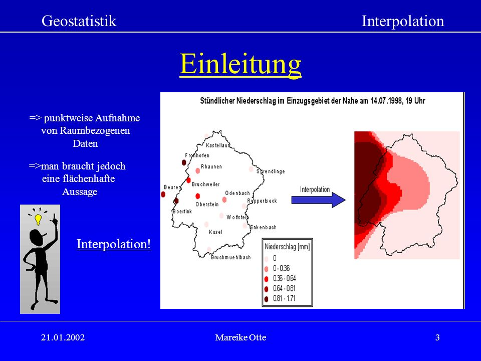 Einleitung Geostatistik Interpolation Interpolation!