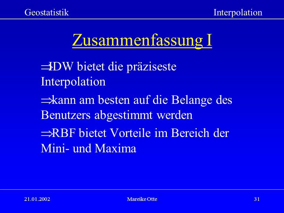 Zusammenfassung I IDW bietet die präziseste Interpolation