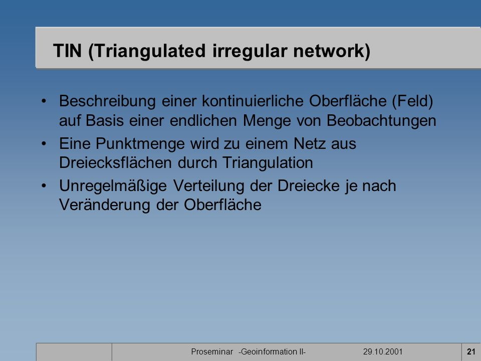 TIN (Triangulated irregular network)