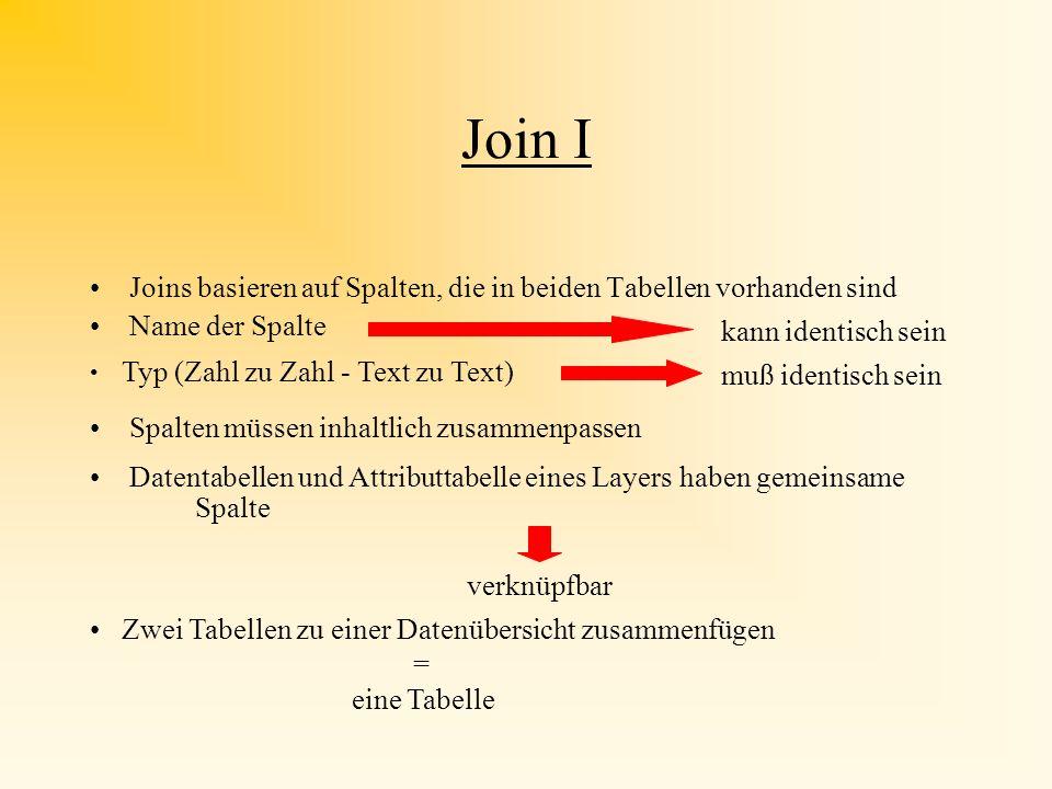 Join I Joins basieren auf Spalten, die in beiden Tabellen vorhanden sind. Name der Spalte. kann identisch sein.