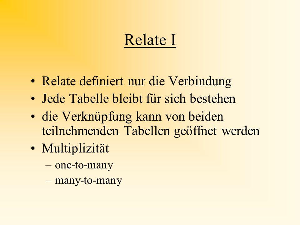Relate I Relate definiert nur die Verbindung