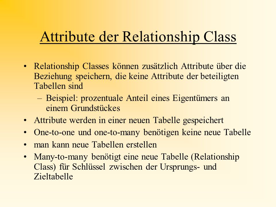 Attribute der Relationship Class