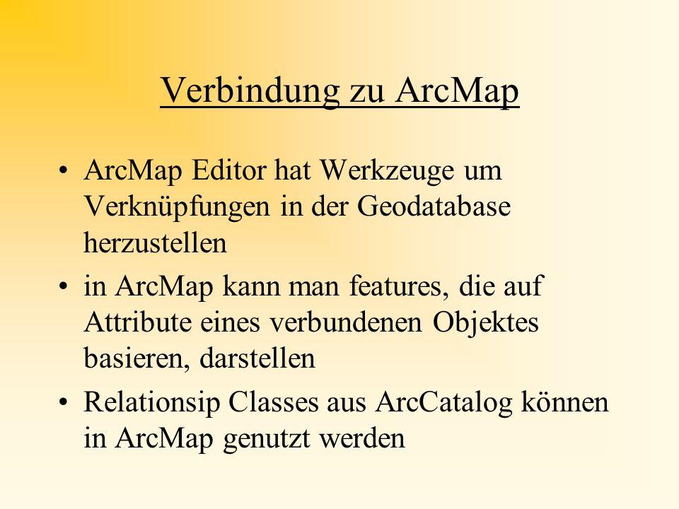 Verbindung zu ArcMap ArcMap Editor hat Werkzeuge um Verknüpfungen in der Geodatabase herzustellen.
