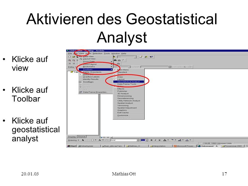 Aktivieren des Geostatistical Analyst