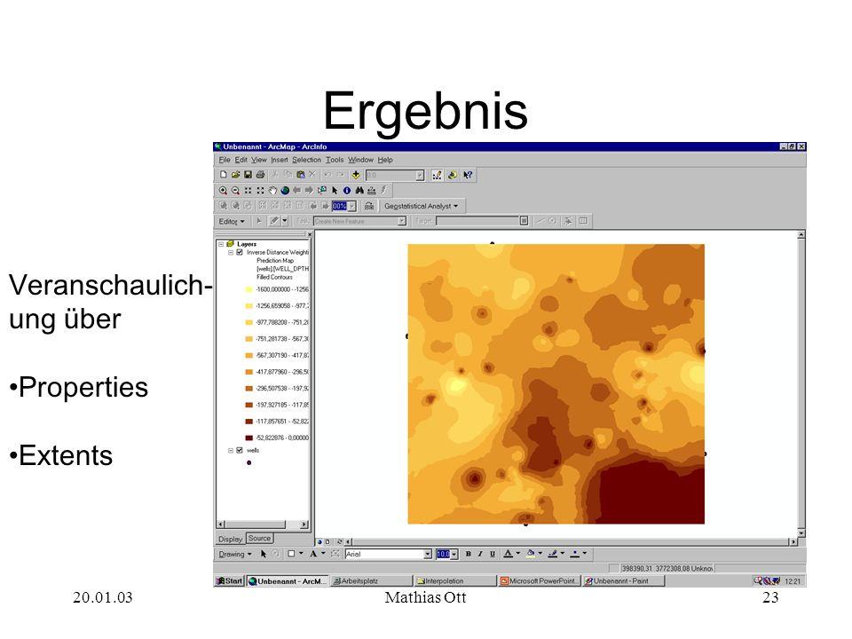 Ergebnis Veranschaulich- ung über Properties Extents 20.01.03