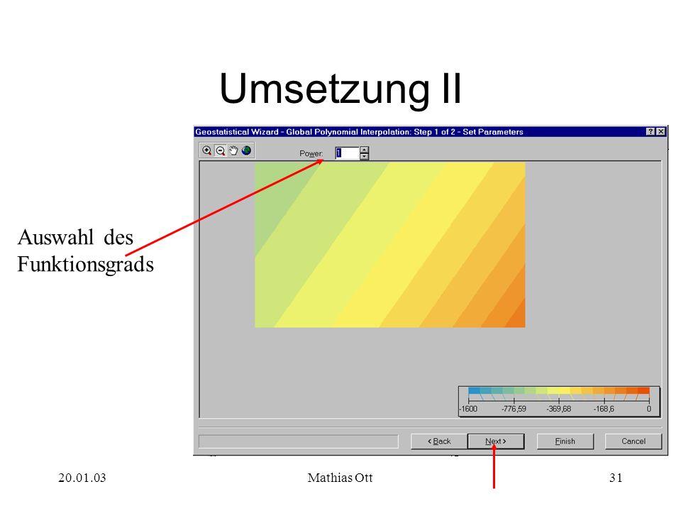 Umsetzung II Auswahl des Funktionsgrads 20.01.03 Mathias Ott