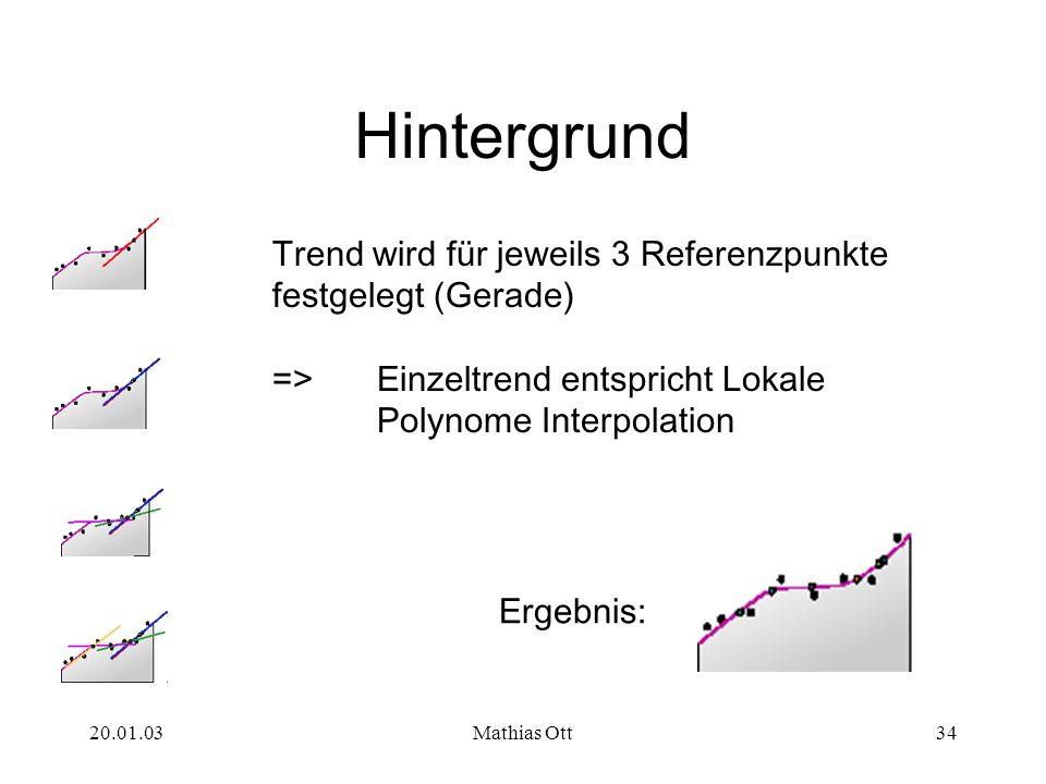 HintergrundTrend wird für jeweils 3 Referenzpunkte festgelegt (Gerade) => Einzeltrend entspricht Lokale Polynome Interpolation.