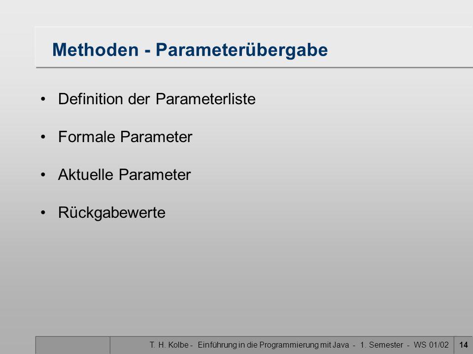 Methoden - Parameterübergabe