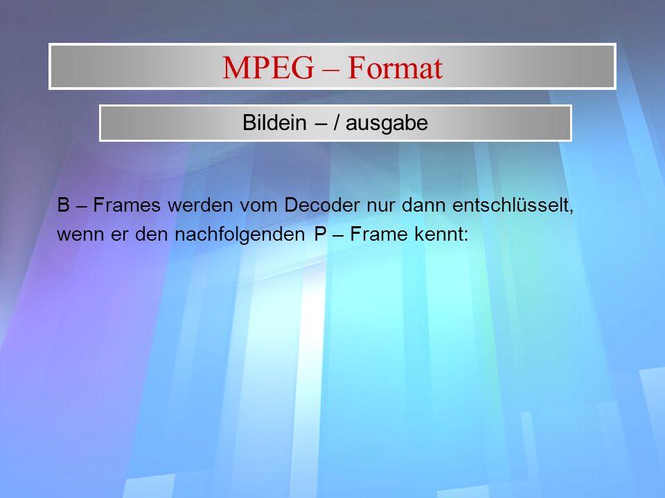 MPEG – Format Bildein – / ausgabe