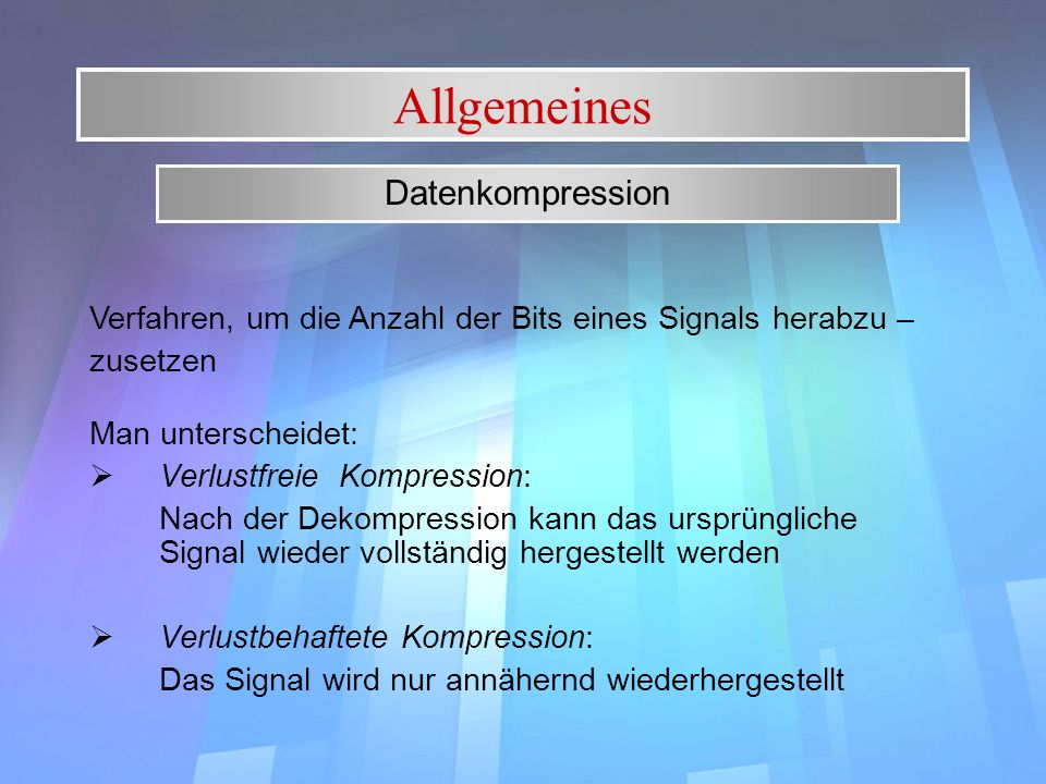Allgemeines Datenkompression