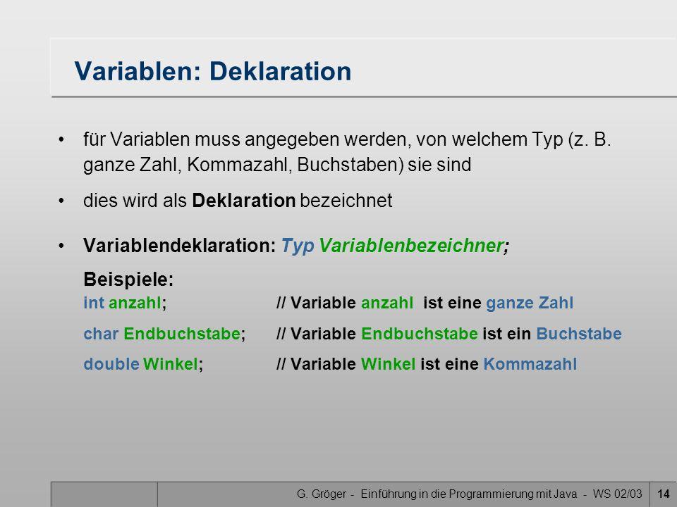 Variablen: Deklaration