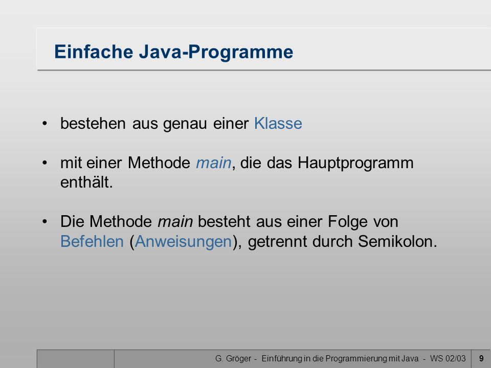 Einfache Java-Programme