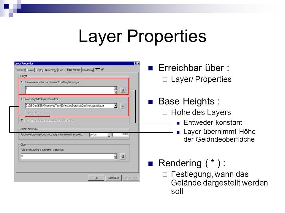 Layer Properties Erreichbar über : * Base Heights : Rendering ( * ) :