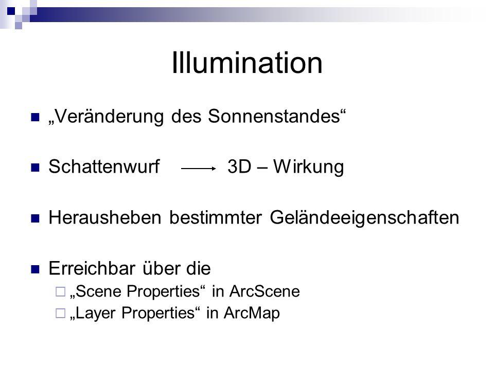 """Illumination """"Veränderung des Sonnenstandes Schattenwurf 3D – Wirkung"""