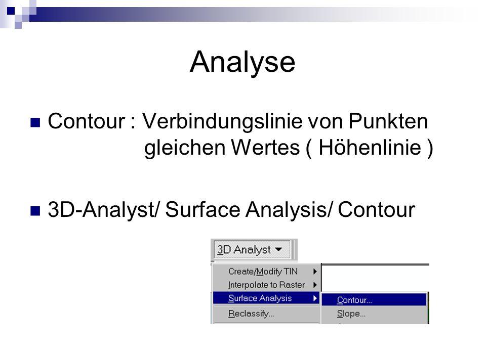 Analyse Contour : Verbindungslinie von Punkten gleichen Wertes ( Höhenlinie ) 3D-Analyst/ Surface Analysis/ Contour.