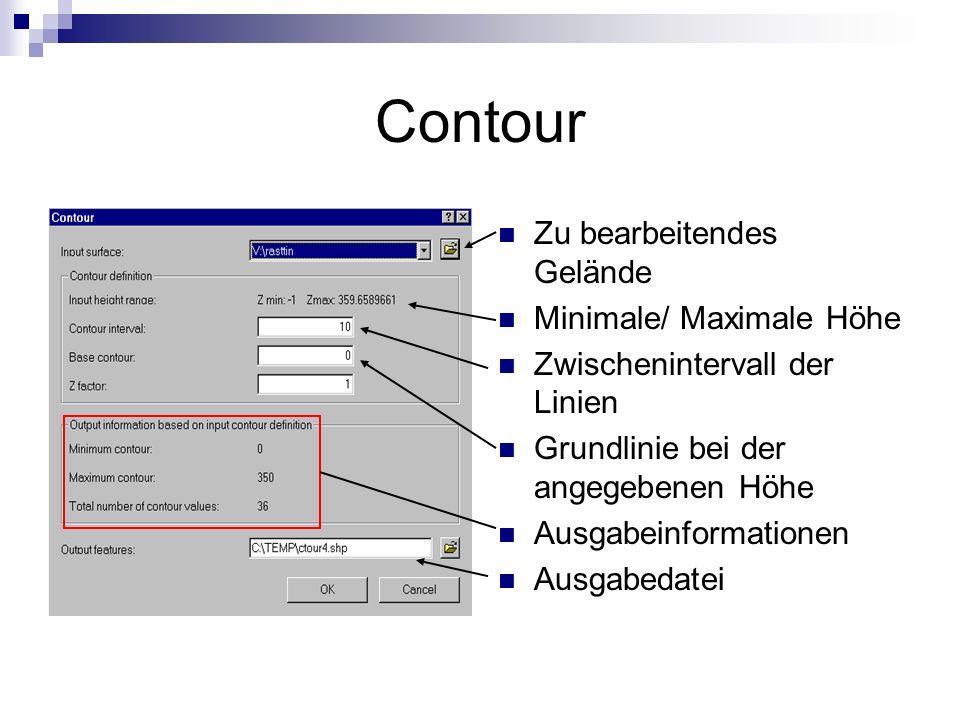 Contour Zu bearbeitendes Gelände Minimale/ Maximale Höhe
