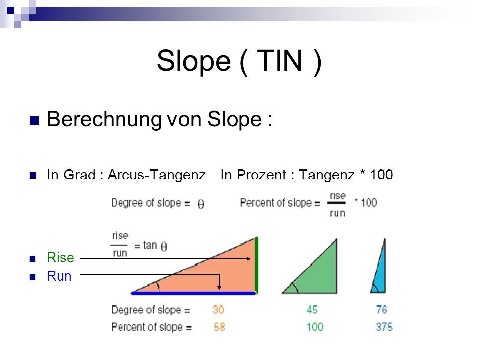 Slope ( TIN ) Berechnung von Slope :
