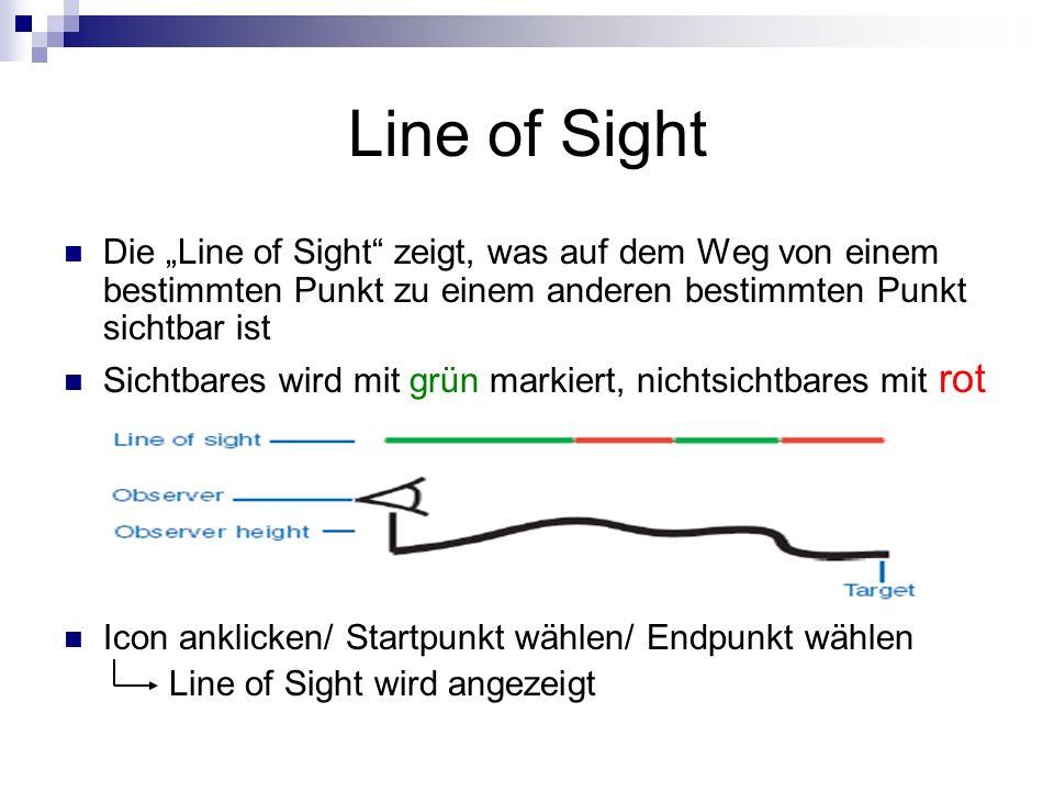 """Line of Sight Die """"Line of Sight zeigt, was auf dem Weg von einem bestimmten Punkt zu einem anderen bestimmten Punkt sichtbar ist."""