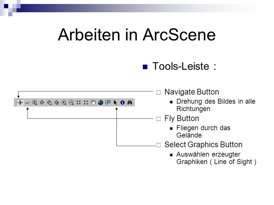 Arbeiten in ArcScene Tools-Leiste : Navigate Button Fly Button