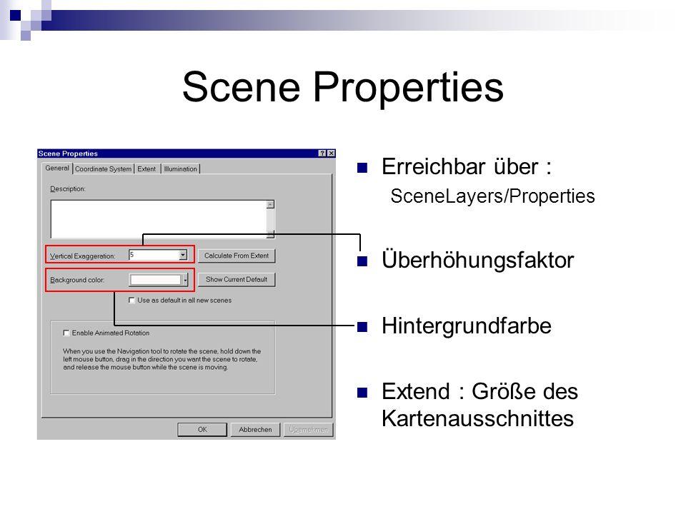 Scene Properties Erreichbar über : Überhöhungsfaktor Hintergrundfarbe