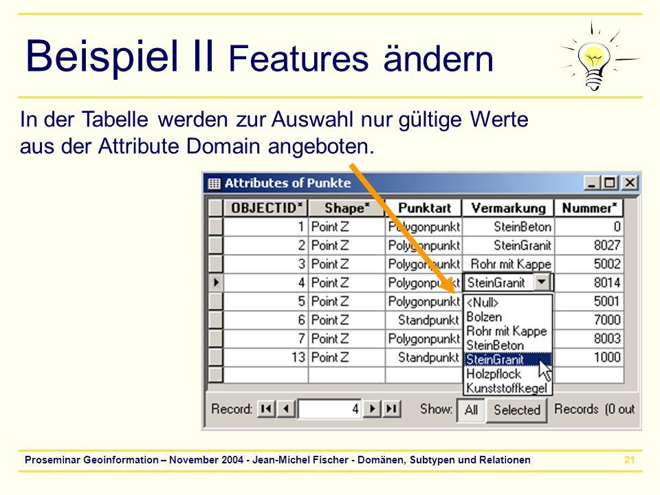 Beispiel II Features ändern