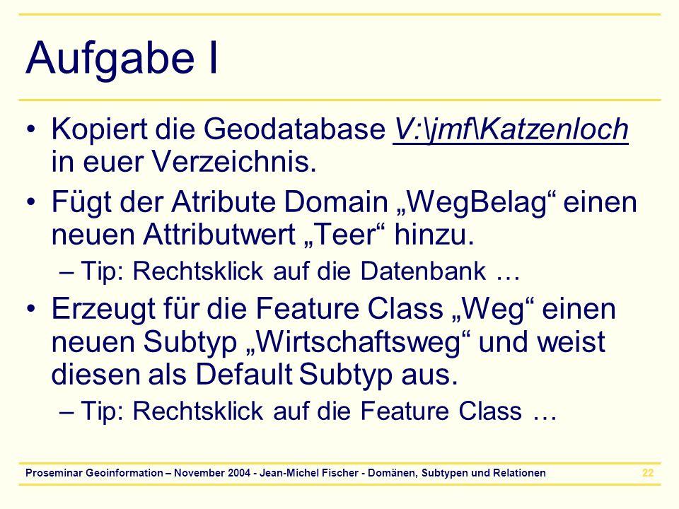 """Aufgabe I Kopiert die Geodatabase V:\jmf\Katzenloch in euer Verzeichnis. Fügt der Atribute Domain """"WegBelag einen neuen Attributwert """"Teer hinzu."""