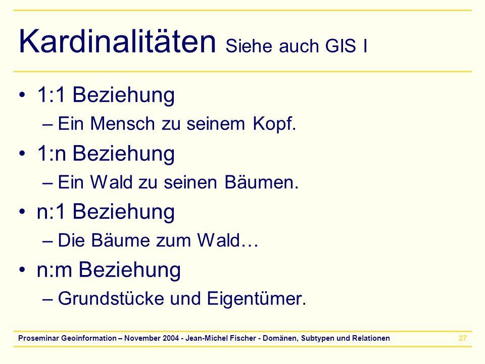 Kardinalitäten Siehe auch GIS I