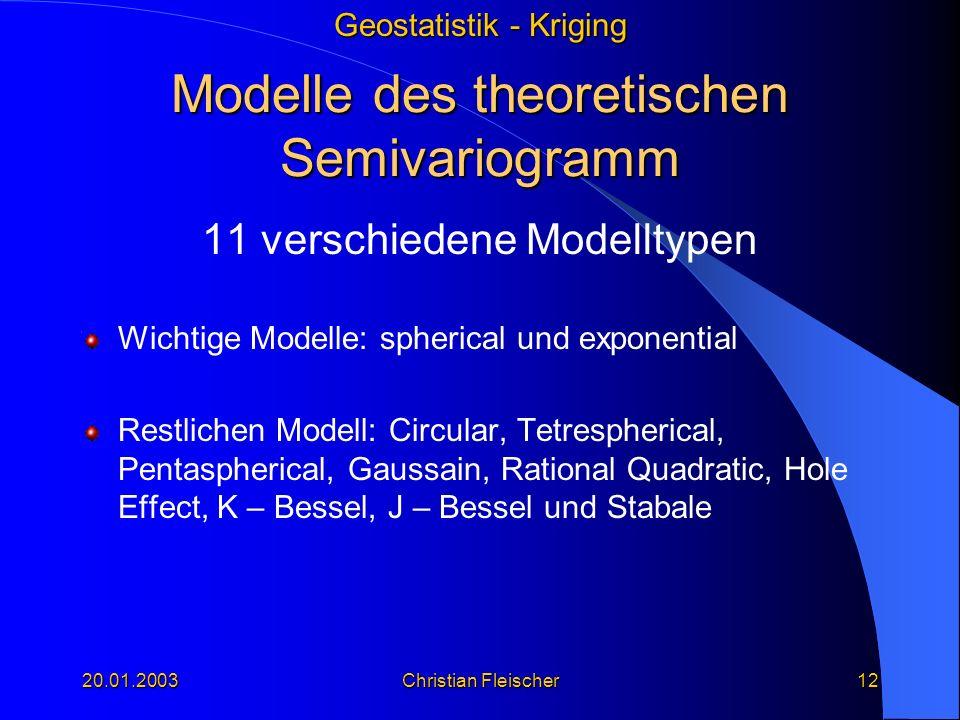 Modelle des theoretischen Semivariogramm