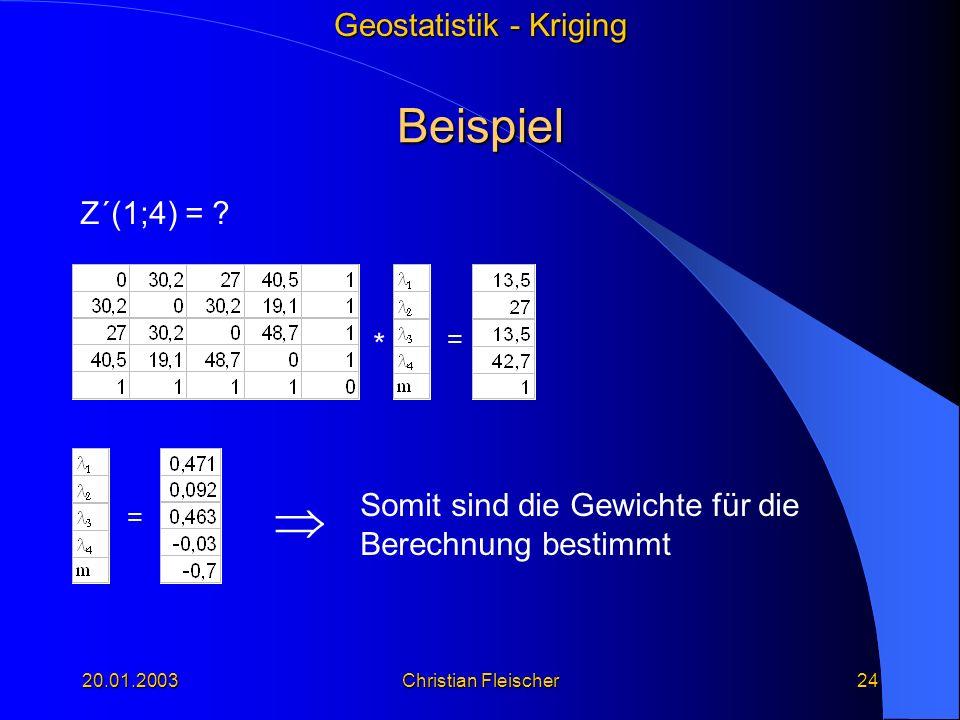  Beispiel Z´(1;4) = * Somit sind die Gewichte für die