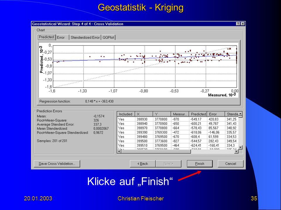 """Klicke auf """"Finish 20.01.2003 Christian Fleischer"""